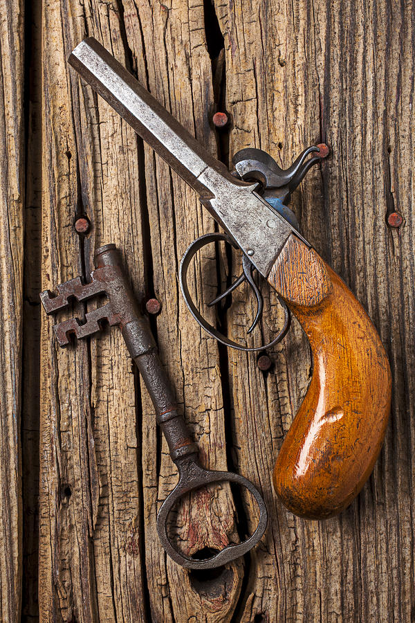 Old Photograph - Old Pistol And Skeleton Key by Garry Gay