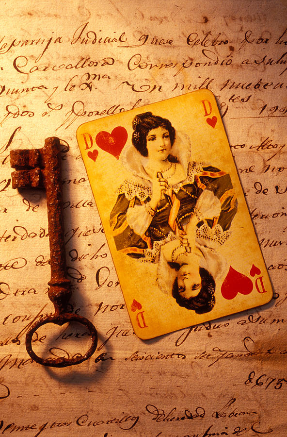 Card Photograph - Old Playing And Key by Garry Gay