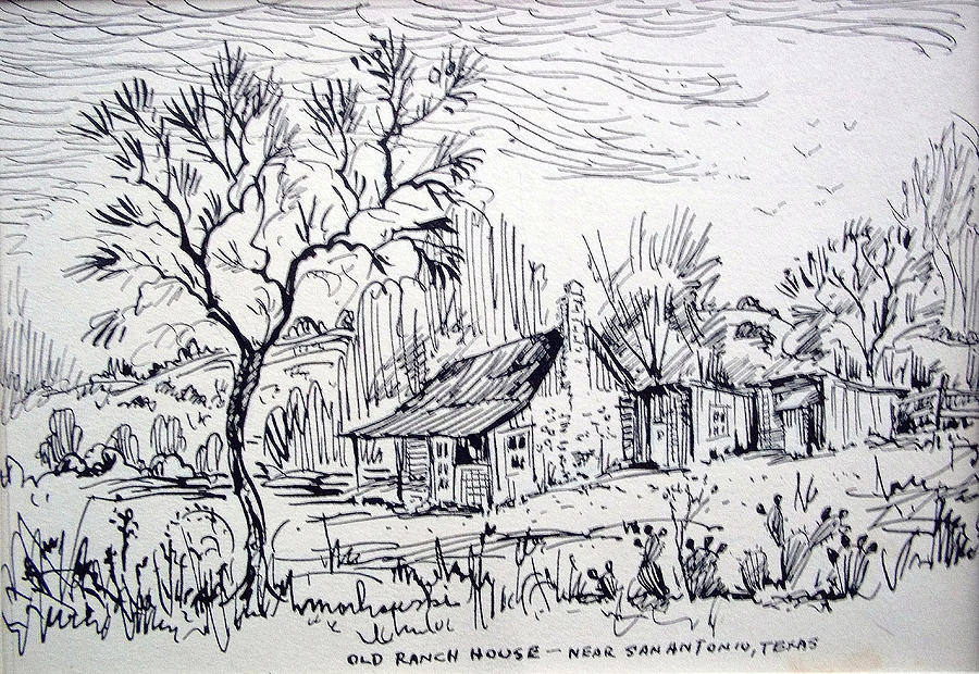 Ranch Drawing - Old Ranch House by Bill Joseph  Markowski