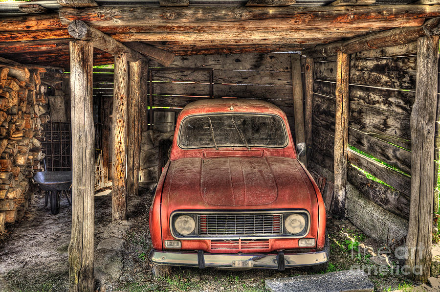 Old Red Car In A Wood Garage Photograph By Mats Silvan