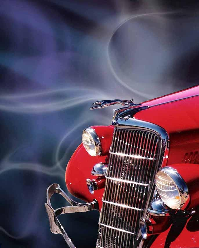 Car Digital Art - Old Red Hotrod by Diana Shively