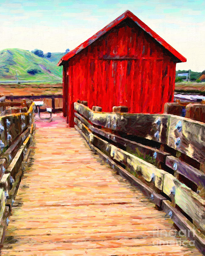 Bayarea Photograph - Old Red Shack by Wingsdomain Art and Photography