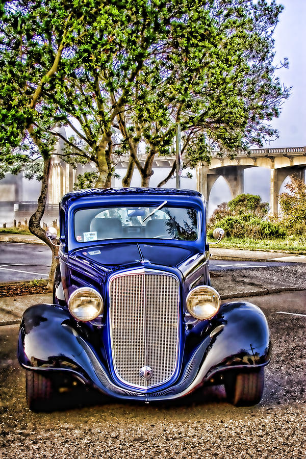 Car Show Photograph - Old Roadster - Blue by Carol Leigh