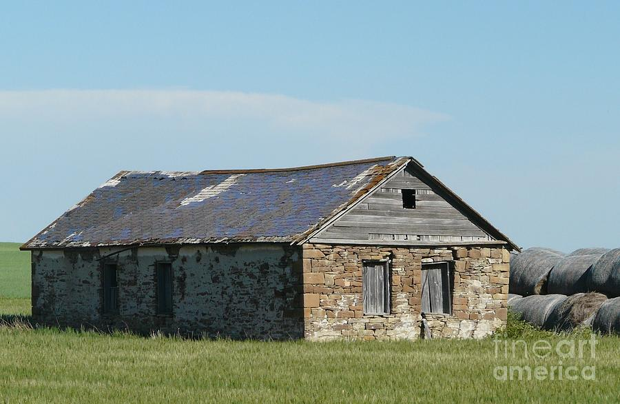 Rock Photograph - old rock house in ND. by Bobbylee Farrier