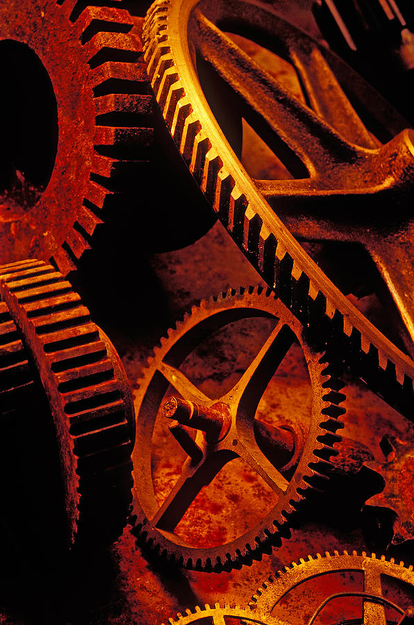 Machinery Photograph - Old Rusty Gears by Garry Gay