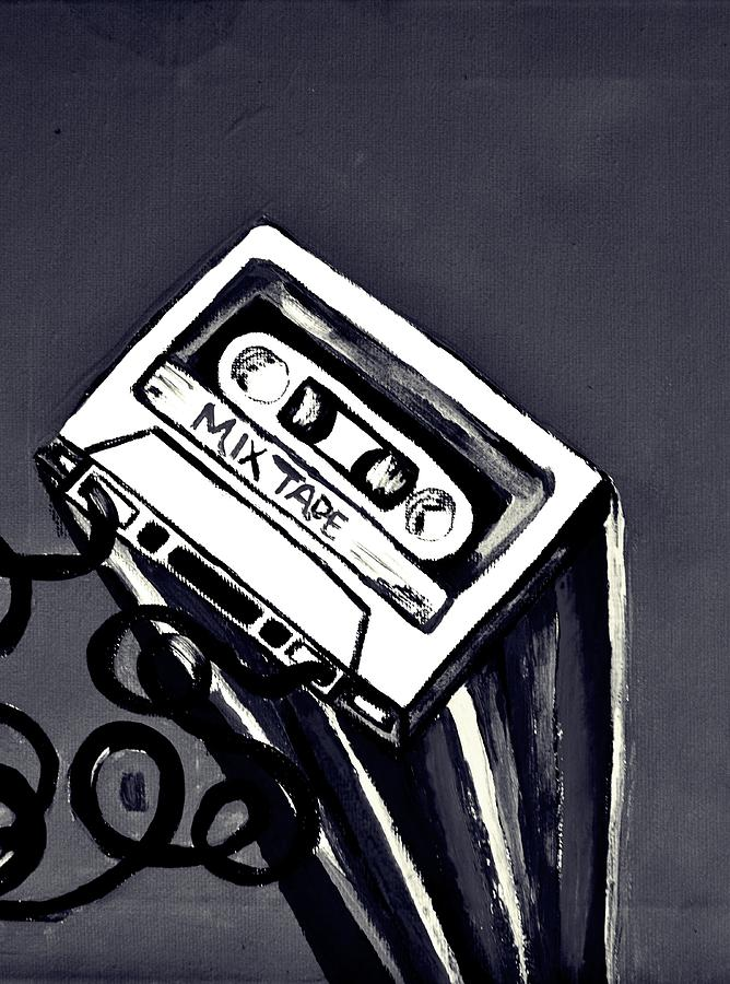 Mix Tape Painting - Old School by Cat Jackson