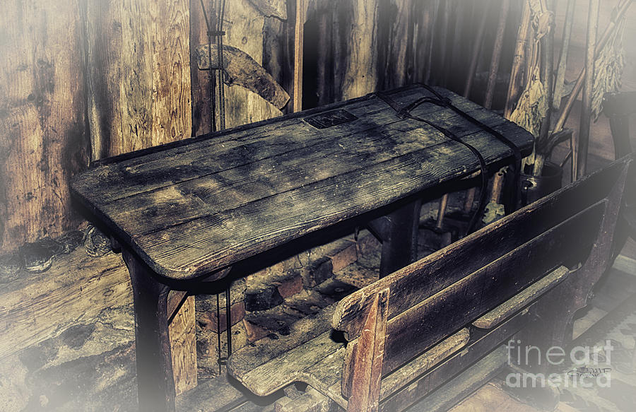 Photo Photograph - Old School Desk by Jutta Maria Pusl