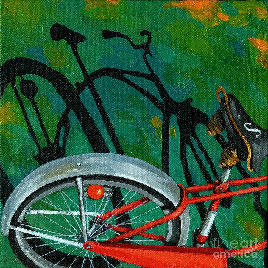 Bike Painting - Old Schwinn by Linda Apple