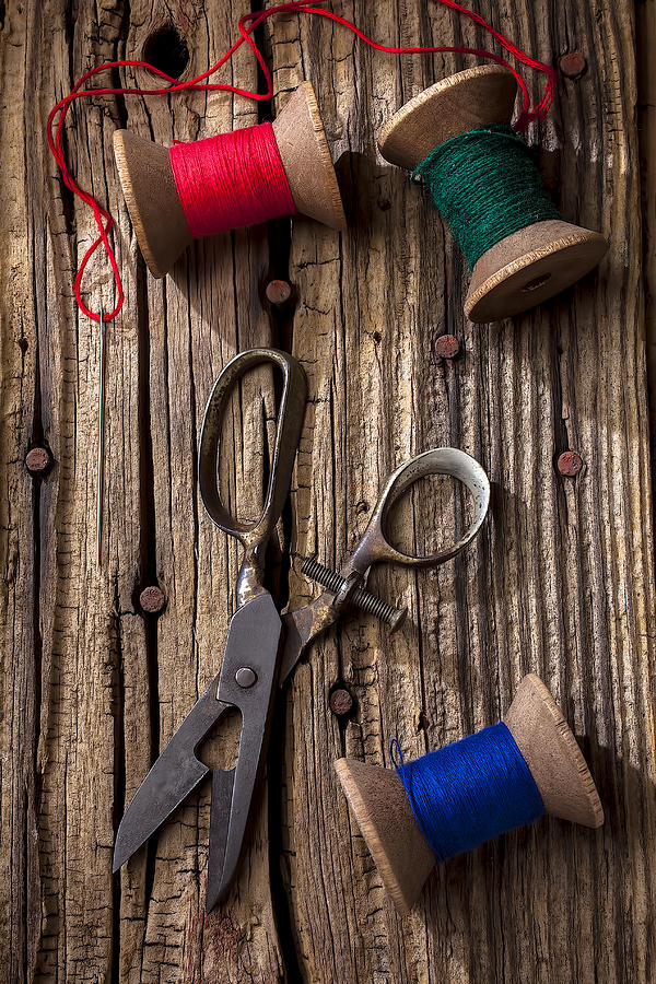 Old Scissors Photograph - Old Scissors And Spools Of Thread by Garry Gay