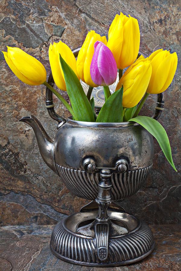 Old Tea Pot Photograph - Old Tea Pot And Tulips by Garry Gay