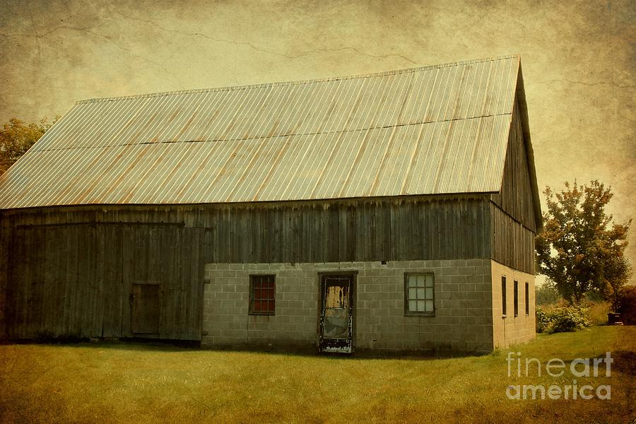 Barn Photograph - Old Textured Barn by Sophie Vigneault