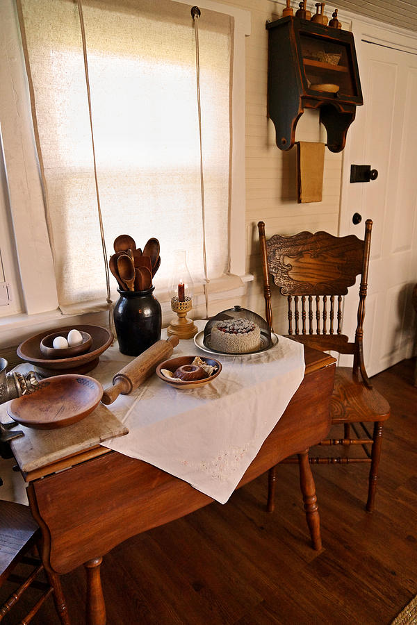 Farmhouse Kitchen Photograph - Old Time Kitchen Table by Carmen Del Valle