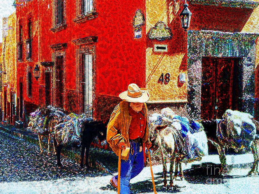 Burros Photograph - Old Timer With His Burros On Umaran Street by John  Kolenberg