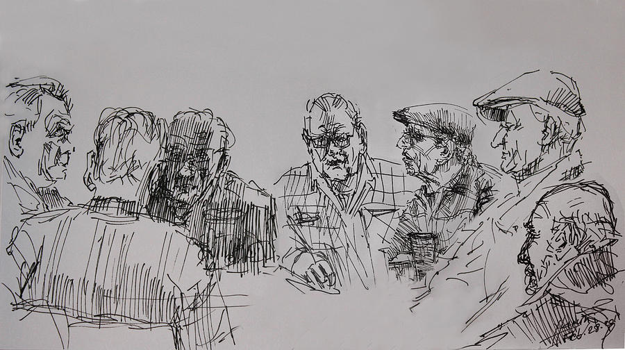 At The Cafe Drawing - Old-timers  by Ylli Haruni
