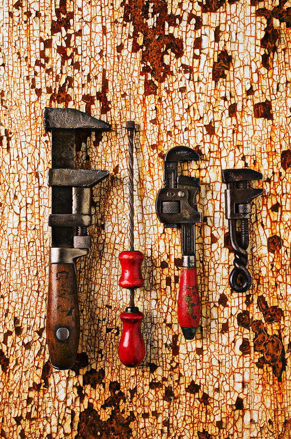 Tool Photograph - Old Tools On Rusty Counter  by Garry Gay