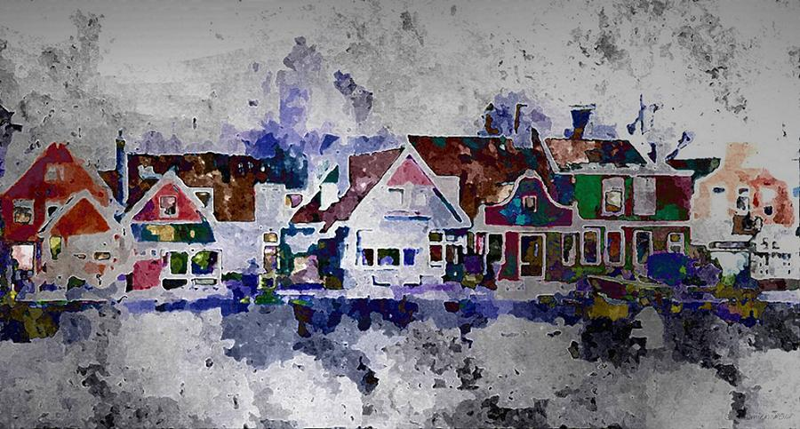 Town Painting - Old Town Village by Lynda K Cole-Smith