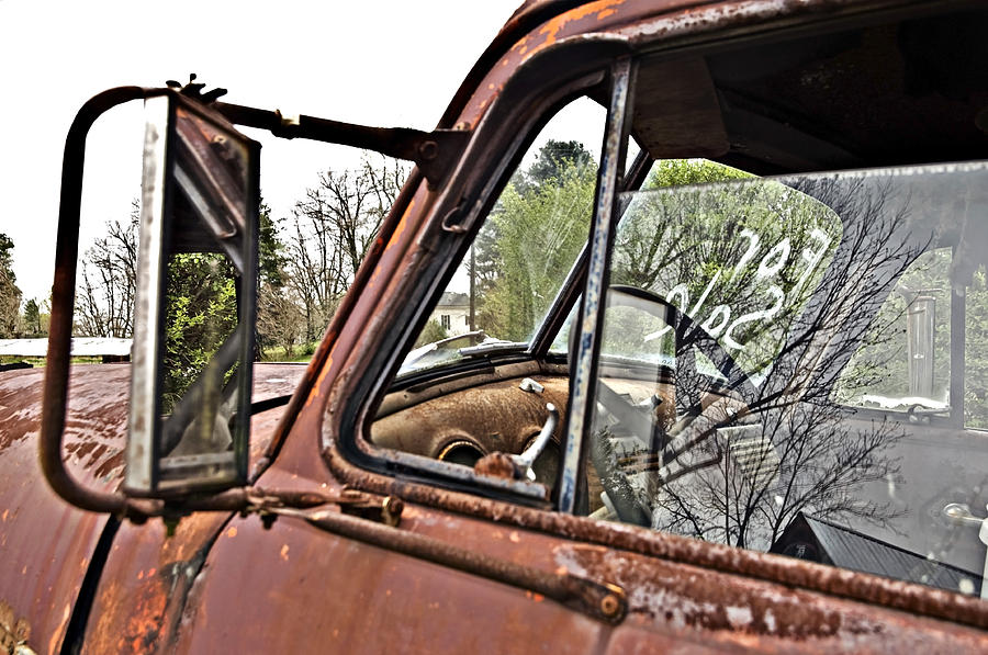 Antique Photograph - Old Truck Mirror by Susan Leggett