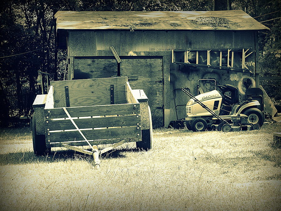 Old Photograph - Old Wagon and Old Shed by Ester McGuire