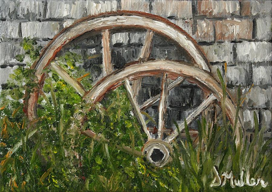 Landscape Painting   Old Wagon Wheels By Donna Muller