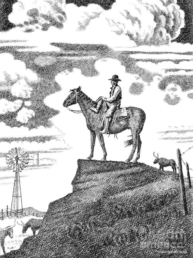Cowboy Drawing - Old-west-art-cowboy by Gordon Punt