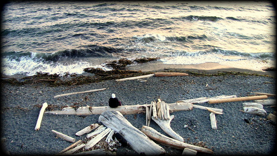 Ocean Scenes Photograph - Old Woman And The Sea by Judy Garrett