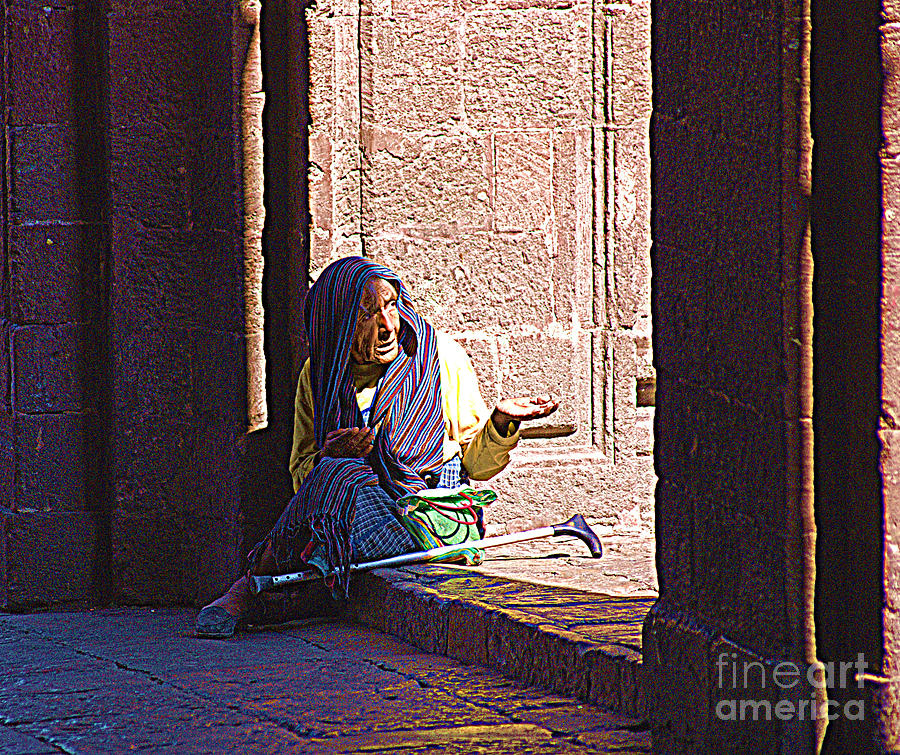 Old Digital Art - Old Woman In Centro by John  Kolenberg