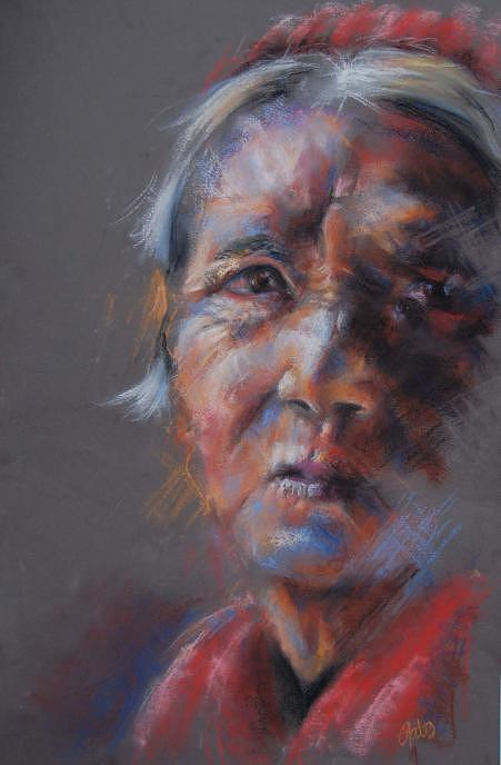 Woman Pastel - Old Woman by Joanna Gates