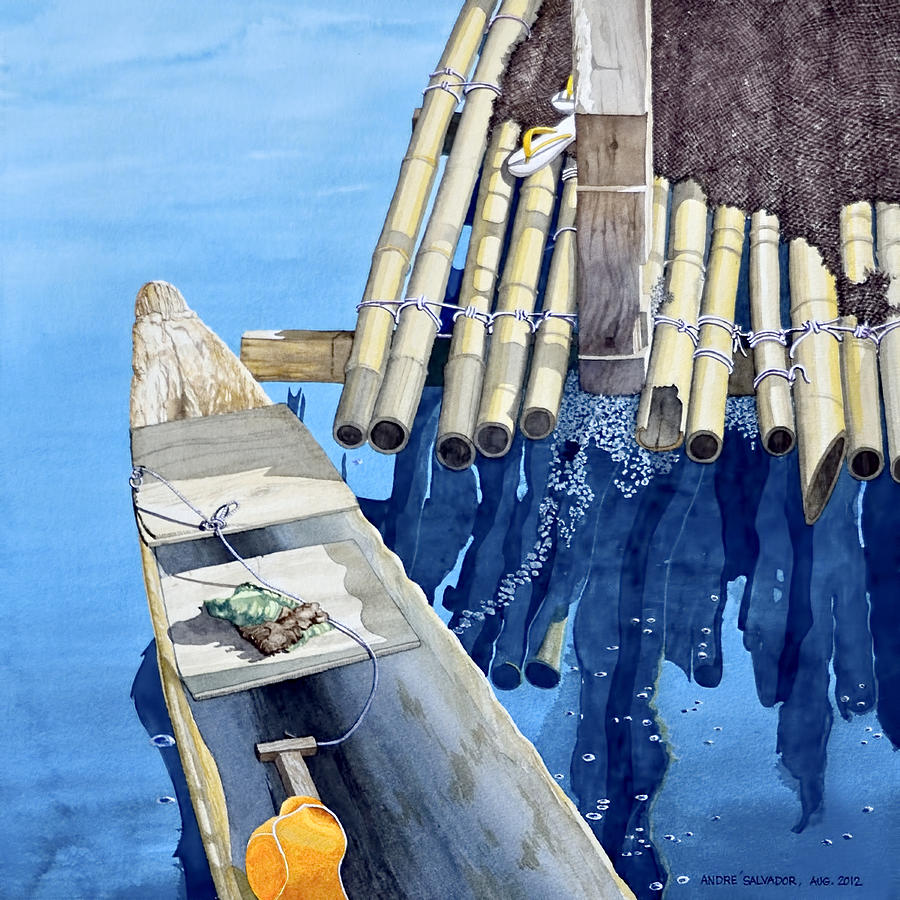 Watercolor Painting - Old Wood Boat by Andre Salvador