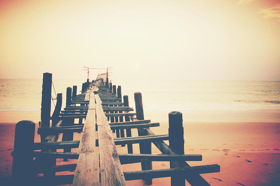 Bay Photograph - Old Wood Bridge To The Sea by Wanchai Yoosumran