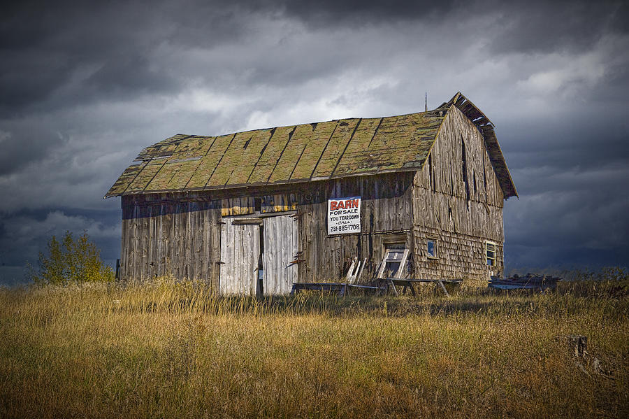 Landscape Photograph - Old Wooden Barn For Sale A Fine Art Wall Decor  Photograph by Randall