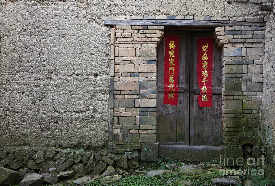 Architecture Photograph - Old Wooden Door With Chinese Writing by Shannon Fagan & Old Wooden Door With Chinese Writing Photograph by Shannon Fagan