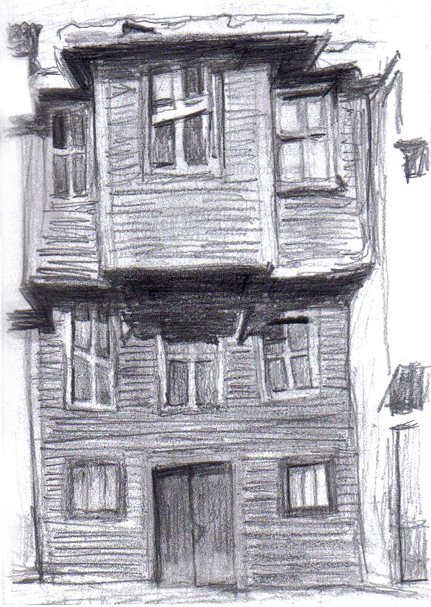 Mansion Drawing: Old Wooden House Drawing By Di Fernandes