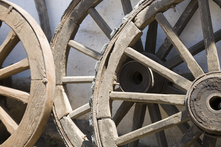 Nobody Photograph   Old Wooden Wagon Wheels Leab By David Evans