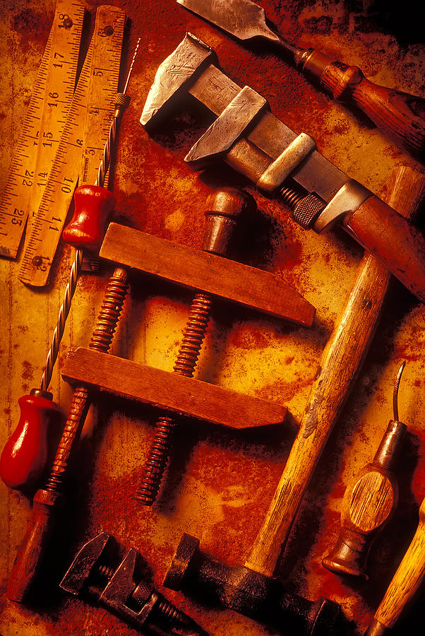 Old Photograph - Old Worn Tools by Garry Gay
