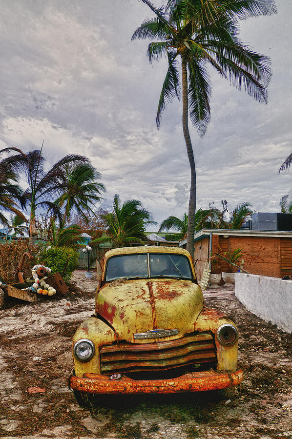 Old Yellow Truck Photograph - Old Yellow Truck Florida by Garry Gay