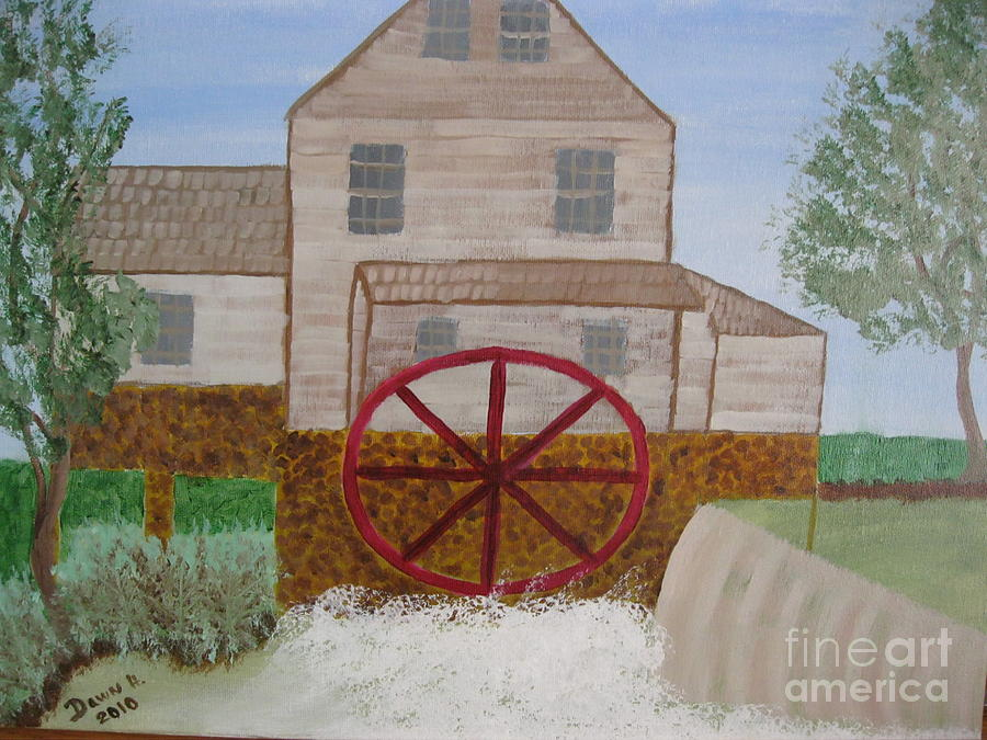 Grist Mill Painting - Ole Grist Mill by Dawn Harrold