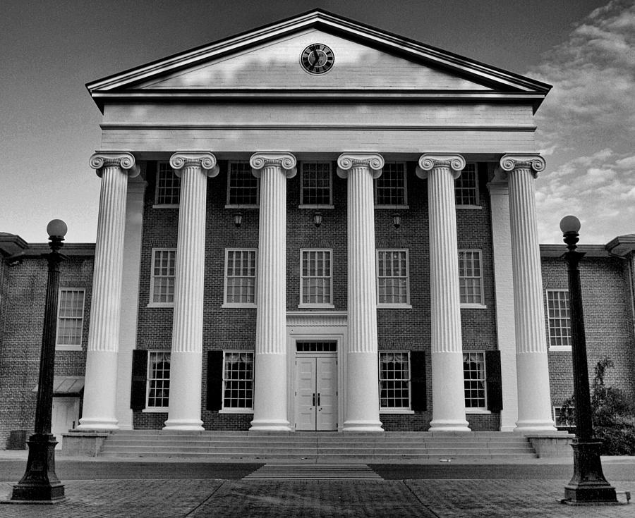 Lyceum Photograph - Ole Miss Lyceum Black And White by Joshua House