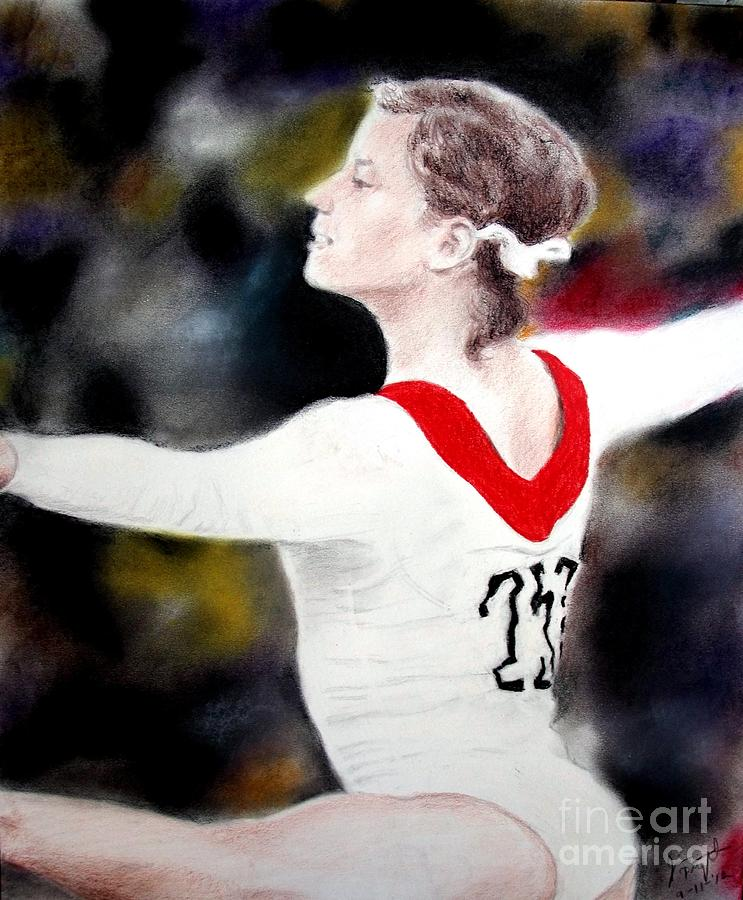 Olga Korbut Drawing - Olga Korbut Performing At The 1972 Summer Olympics In Munich by Jim Fitzpatrick