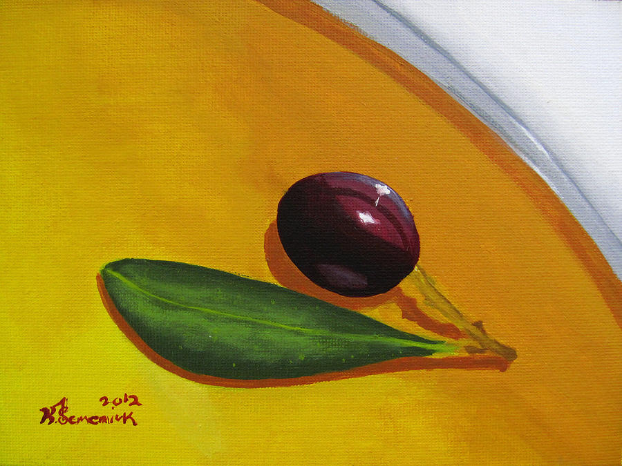 Yellow Painting - Olive In Olive Oil by Kayleigh Semeniuk