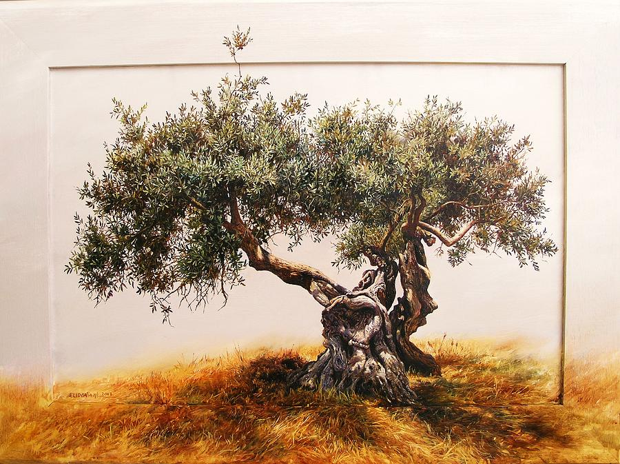 Olive tree painting by elidon hoxha for How to paint a tree
