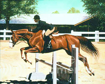 Jumping Painting - Olivers Oxer by Phil Hopkins
