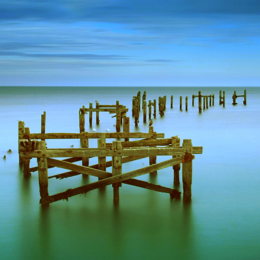Long Exposure Photograph - Ols Swanage Pier by Mark Leader