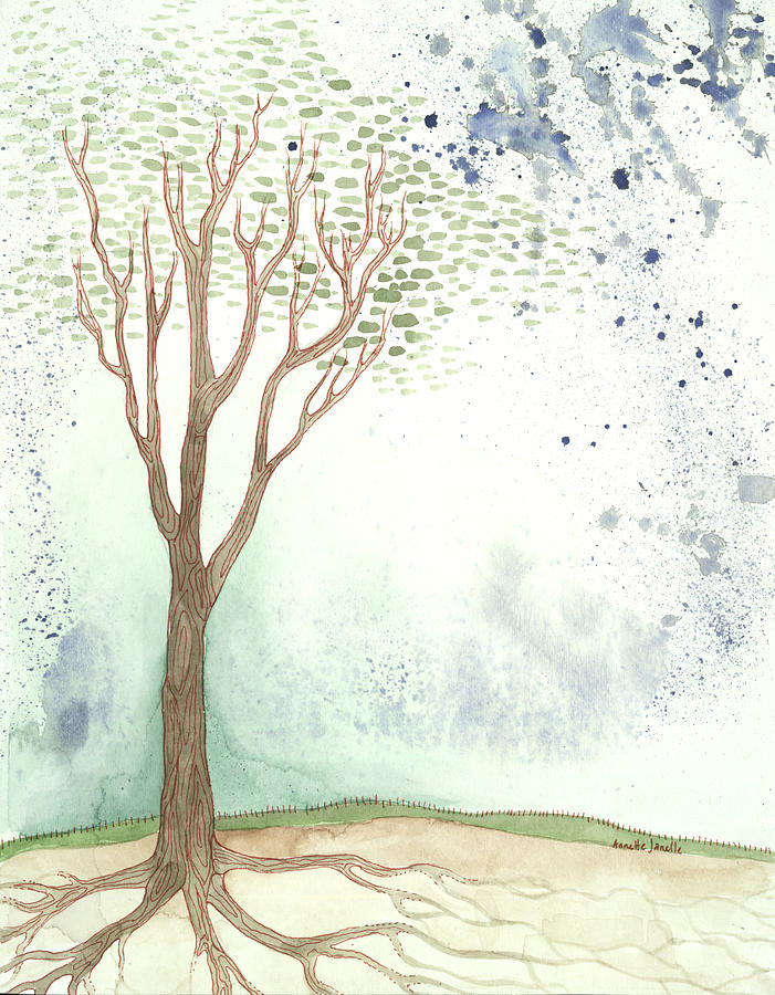 Tree Painting - On A Hill by Annette Janelle Provenzo