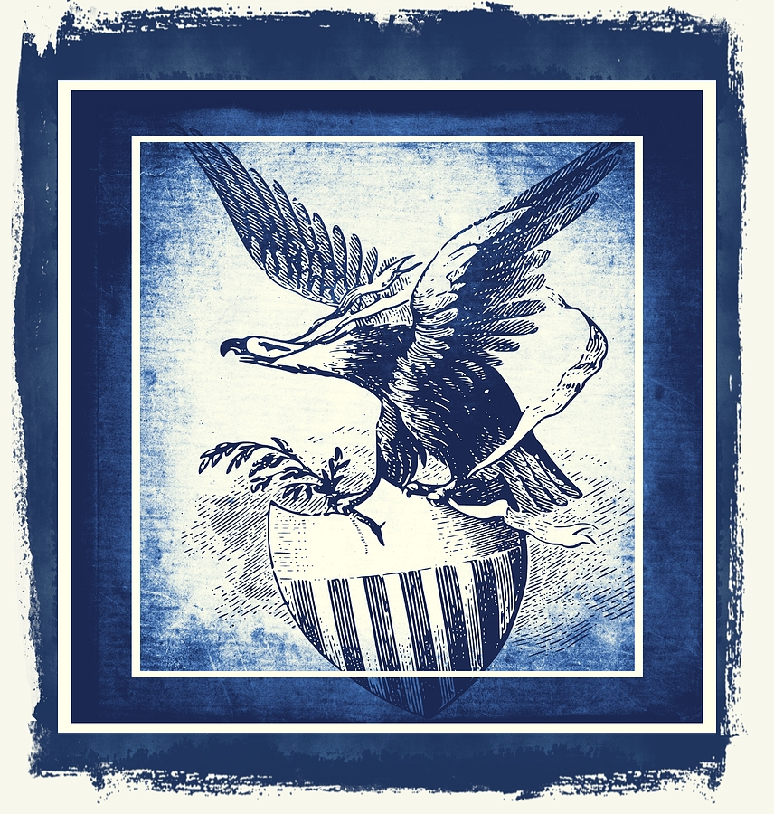 Usa Mixed Media - On Eagles Wings Blue by Angelina Vick