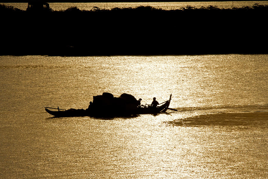 Asia Photograph - On Golden Waters by David Freuthal