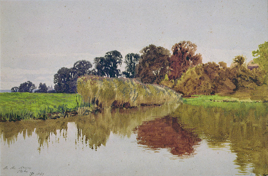 Meadow; River; Landscape Painting - On The Arun Stoke Sussex  by George Vicat Cole