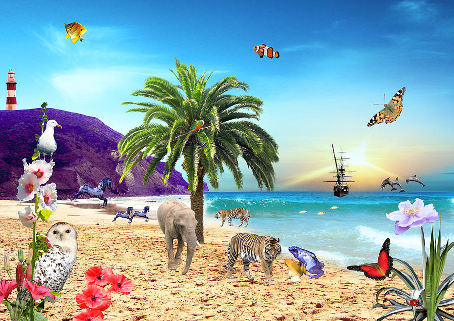 Landscapes Digital Art - On The Beach by Emily Campbell