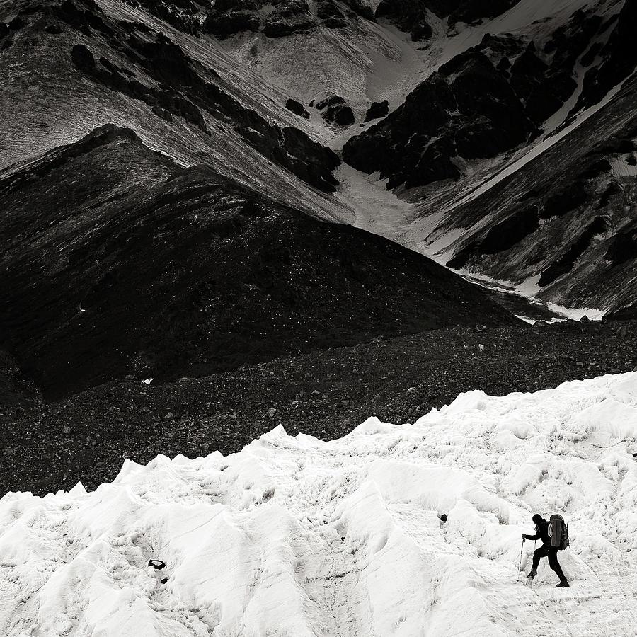 Alone Photograph - On The Glacier by Konstantin Dikovsky