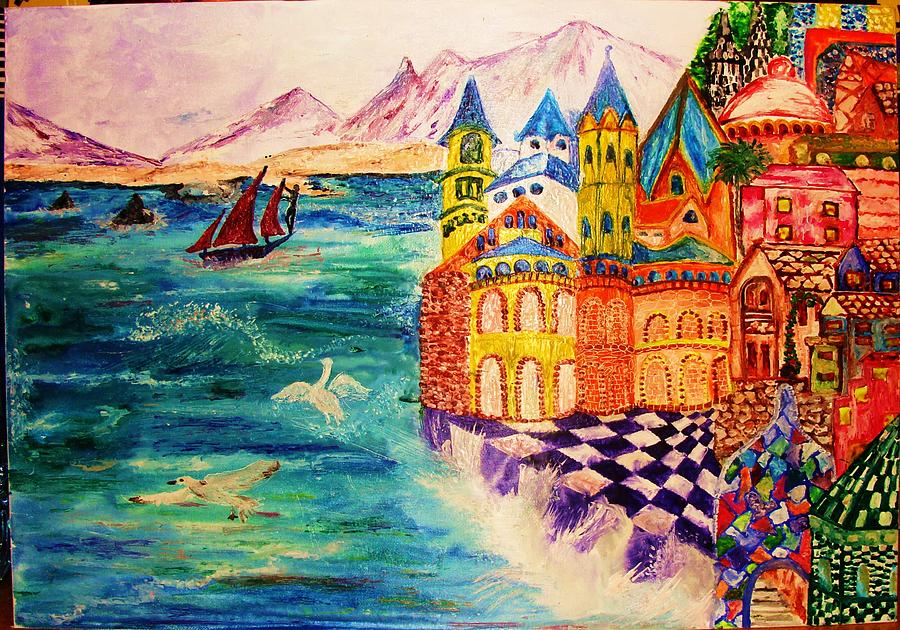 The Sea Painting - On The Island Of Buyan. by Jeanne Mytareva