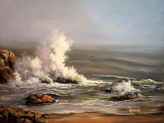 Seascape Painting - On The Rocks by John Richards